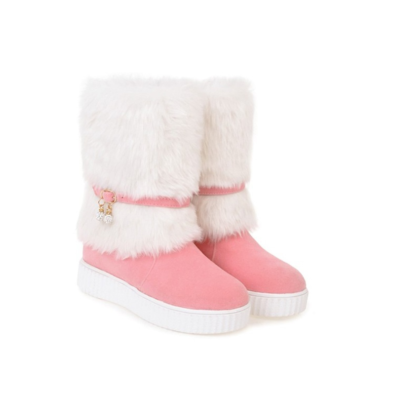 Ericdress Fuzzy Slip-On Patchwork Women's Snow Boots