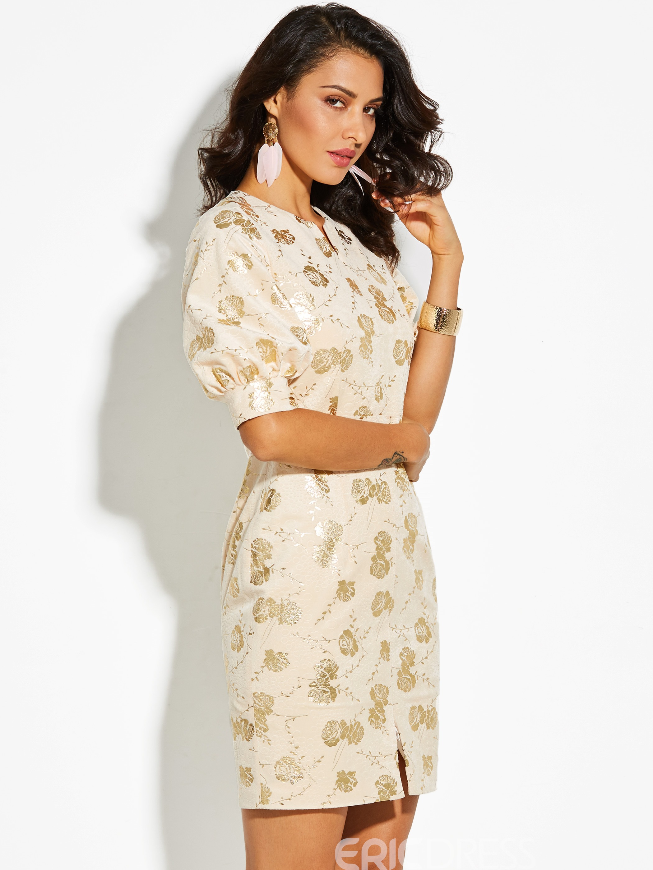Ericdress V-Neck Floral Print Lantern Sleeve Bodycon Dress