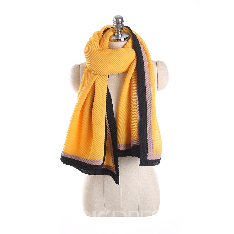Ericdress Chic Pleated Contrast Color Chiffon Scarf for Women