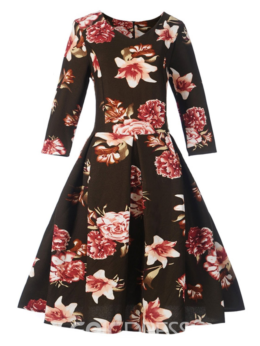 Ericdress Scoop Print Fall A Line Dress
