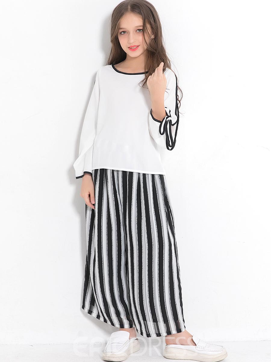 Ericdress Stripe Open Long Sleeve Lace-Up Loose 2-Pcs Outfit