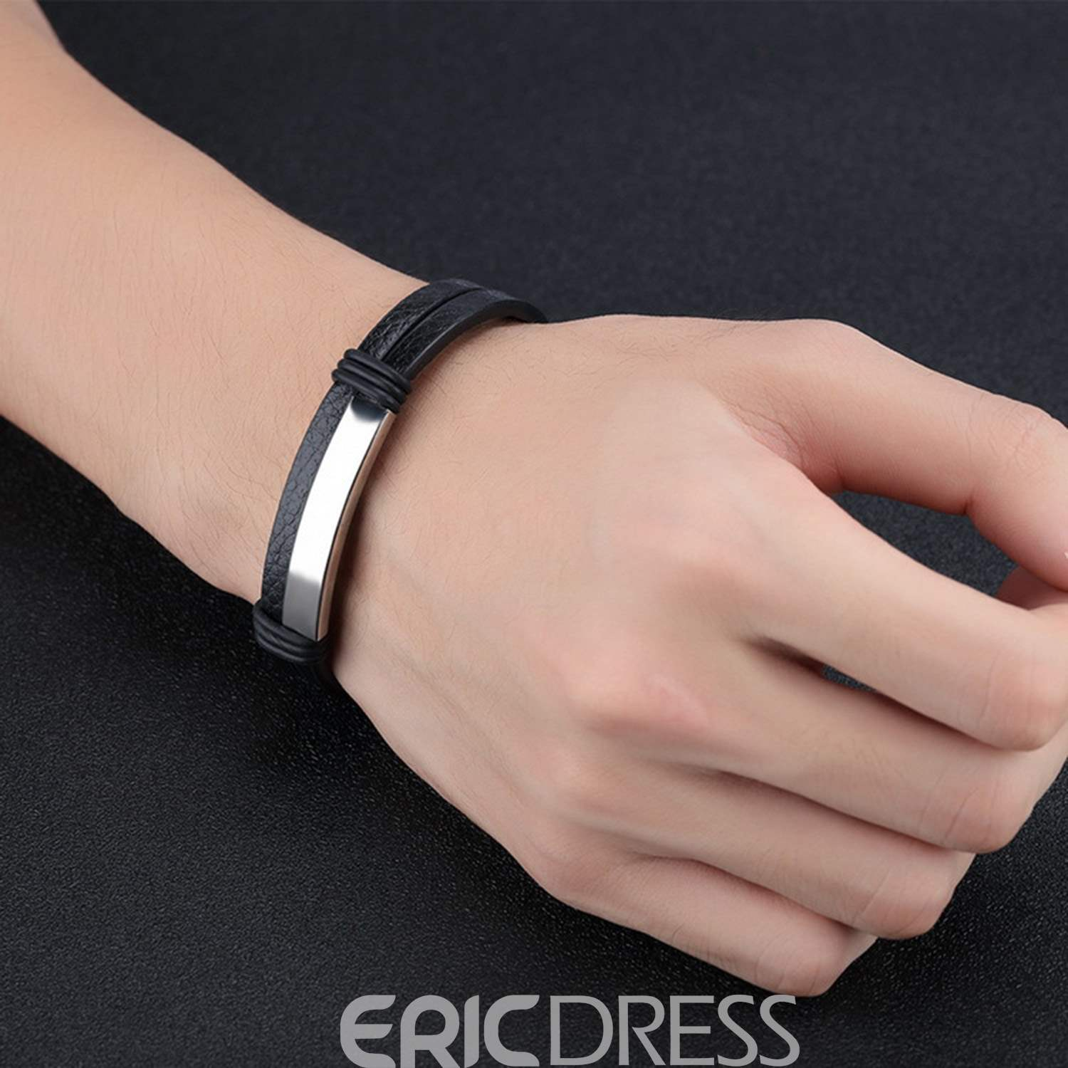 Ericdress Hot Stainless Steel Leather Bracelet for Men/Women
