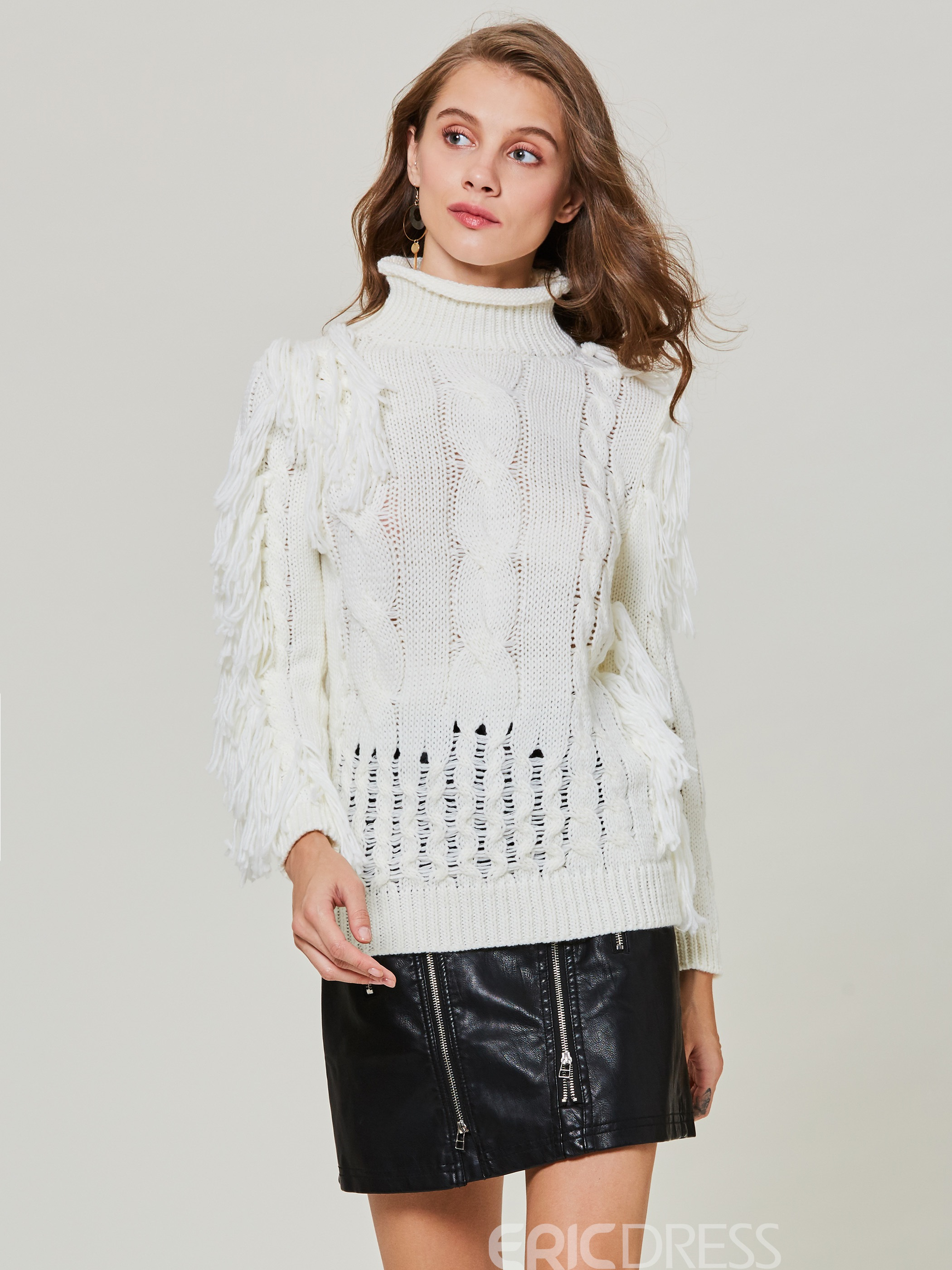 Ericdress Turtleneck Tassel Patchwork Pullover Sweater