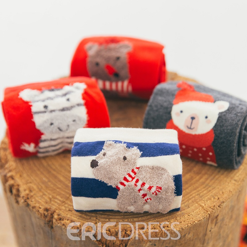 Cute Animals Mid-Cut Candy Socks for Female 4 Pairs