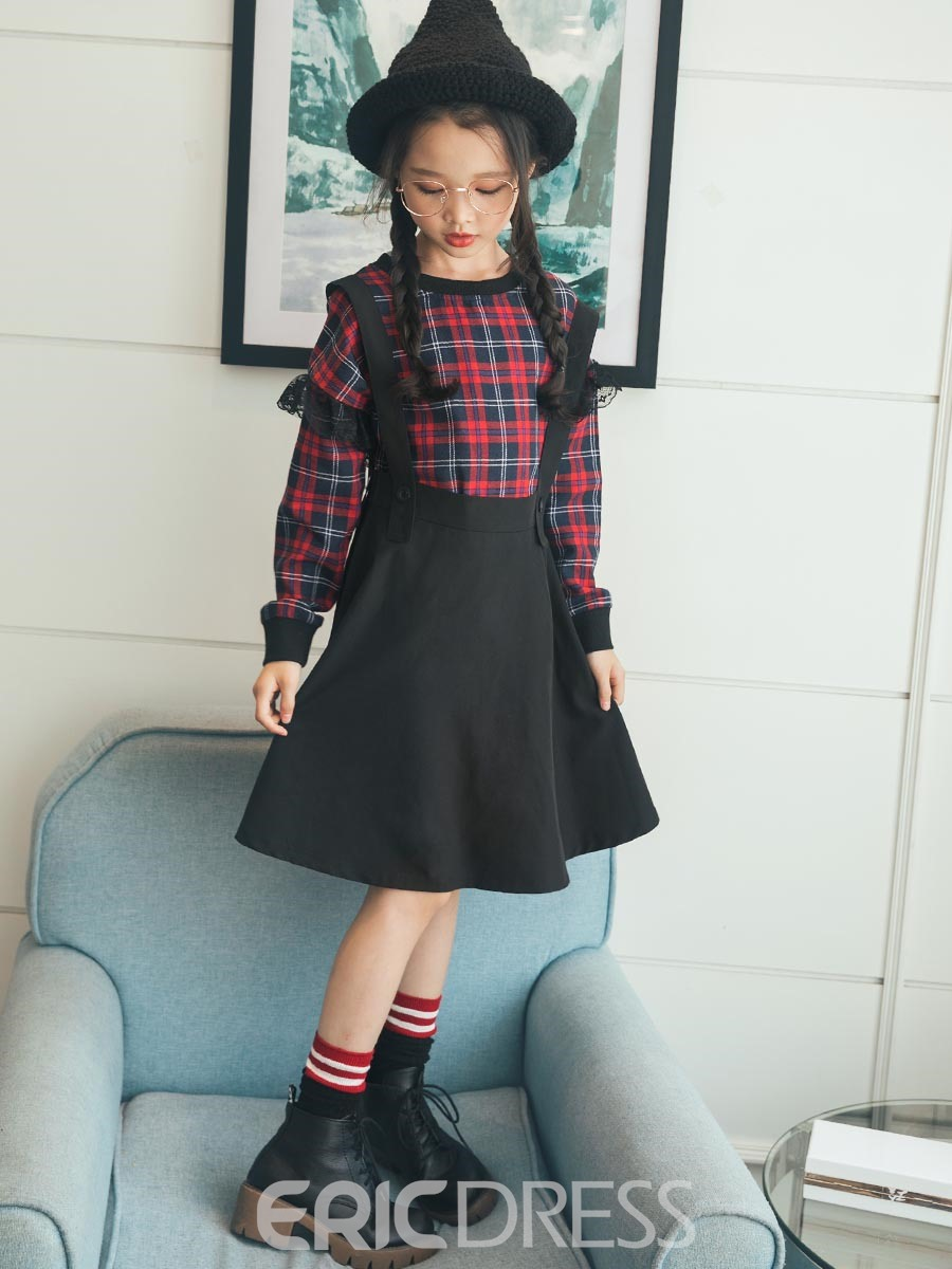 Ericdress Plaid Lace Patchwork Long-Sleeve Girl's A-Line Dress