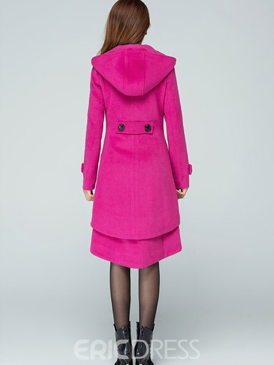 Ericdress Plain Single-Breasted Mid-Length Coat