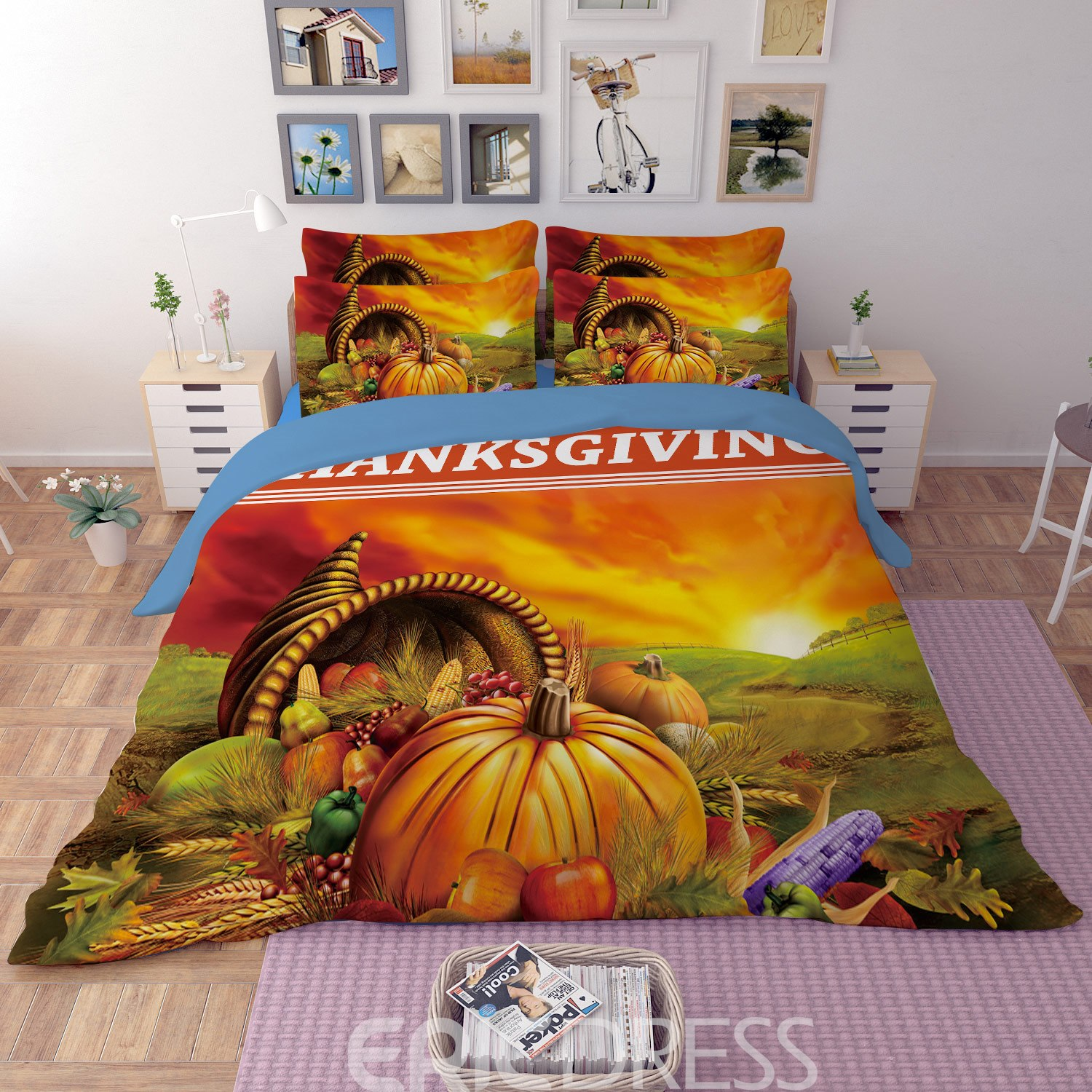 Vivilinen 3D Fall Harvest Pumpkin Printed Polyester 4-Piece Bedding Sets/Duvet Covers