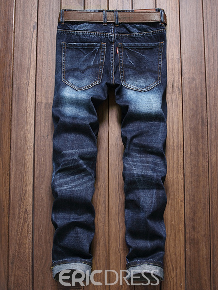 Ericdress Color Block Worn Denim Slim Men's Pants