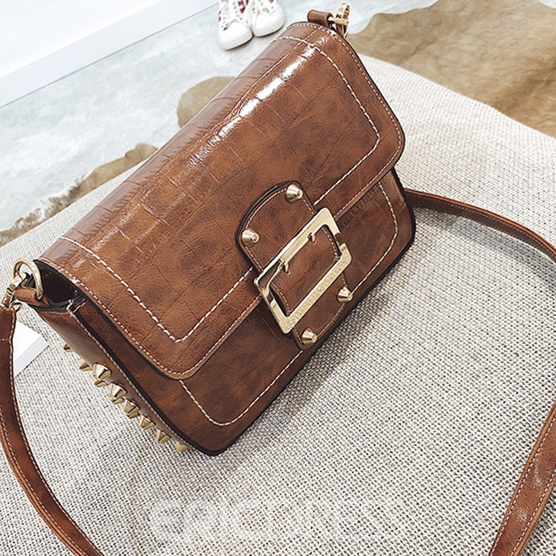 Ericdress Vintage Croco-Embossed Crossbody Bag