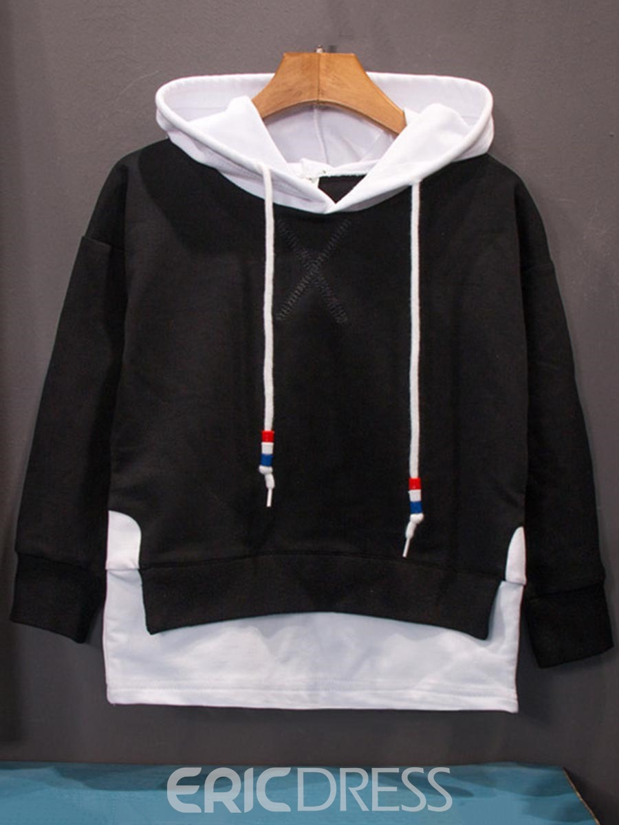 Ericdress Letter Print Patchwork Hooded Pullover Boy's Sweater