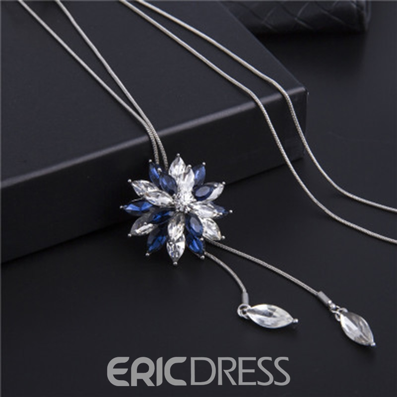 Ericdress Graceful Snowflake Pendant Tassel Sweater Necklace