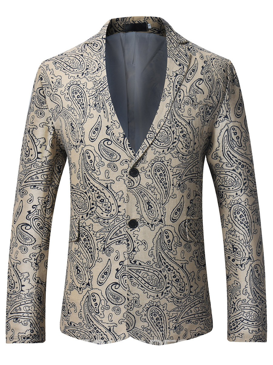 Eridress Notched Lapel Print Vogue Slim Men's Blazer