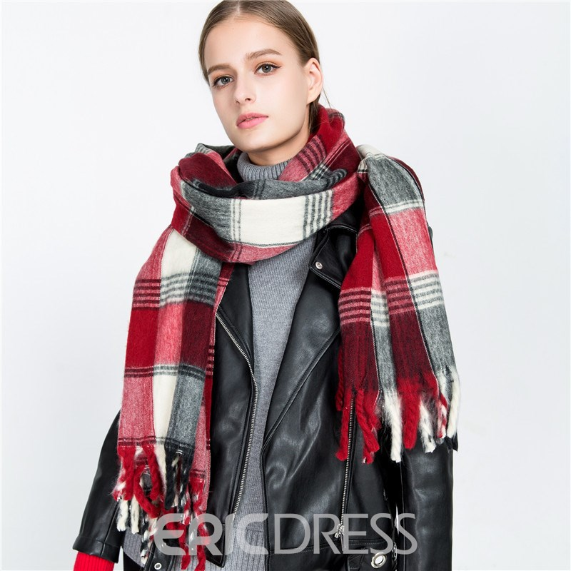 Ericdress British Black&Red Grid Thicken Warm Scarf for Women