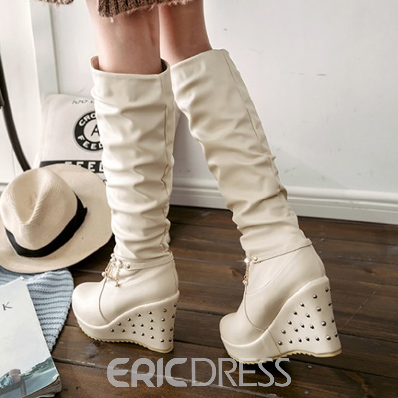 Ericdress Beads Decorated Fringe Platform Knee High Boots