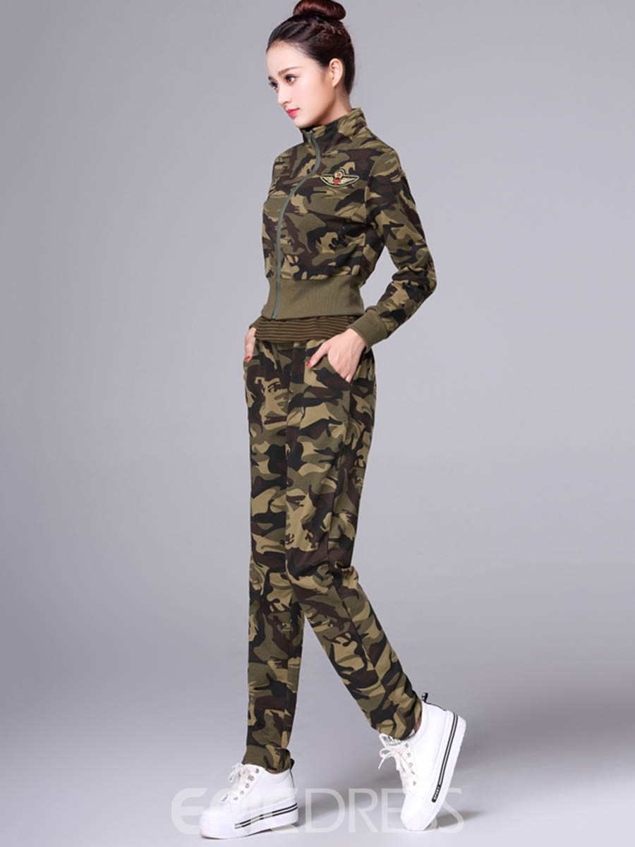 Ericdress Camouflage Jacket with Vest and Pants Women's Two Piece Set