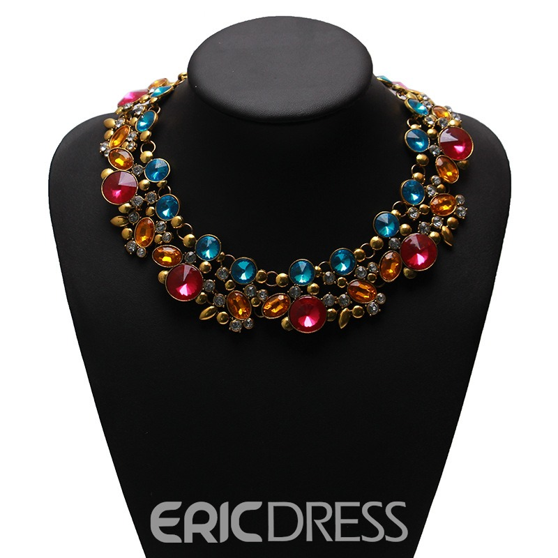 Ericdress Splendid Double Layer Fully-Jewelled Necklace