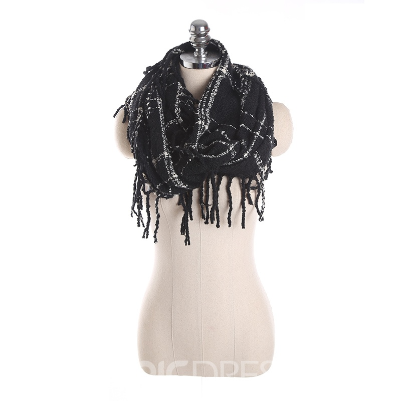 Ericdress Stylish All Match Tassel Grid Women's Scarf