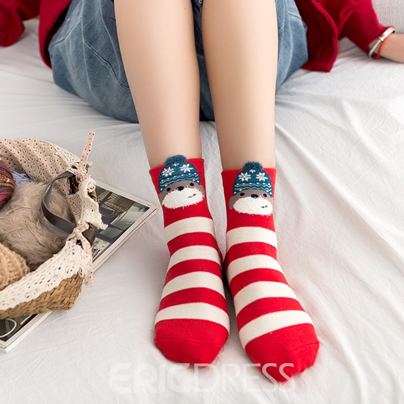 Cotton Series Mid Cut Cute Animals Candy Socks for Female 4 Pairs