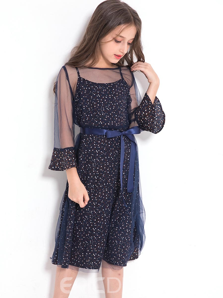 Ericdress Floral See-Through Mesh Patchwork Bowknot Lace-Up Girl's Dress