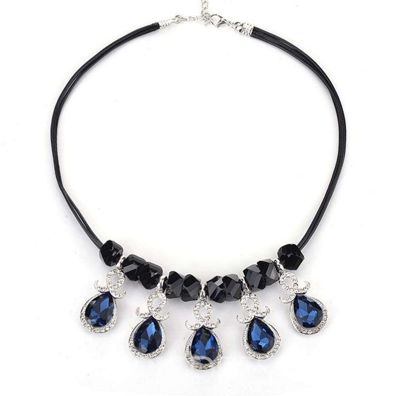 Ericdress Korean Style Pear Cut Sapphire Pendant Necklace for Women