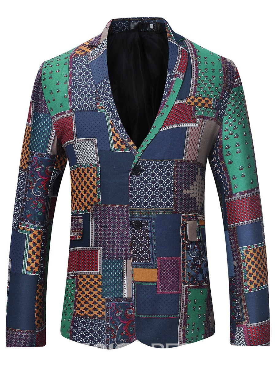 Ericdress Patchwork Notched Lapel Slim Fit Men's Blazer