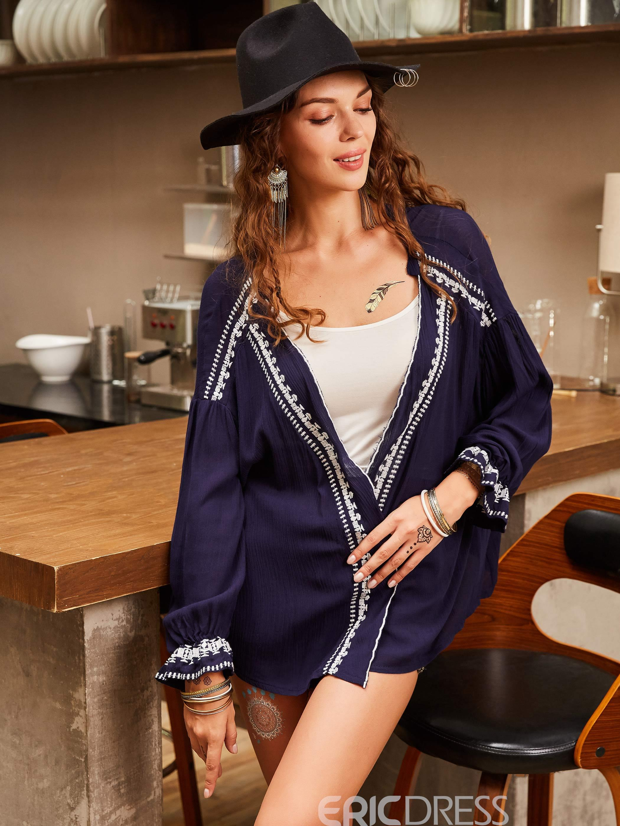 Ericdress Loose V-Neck Embroideried Wrapped Blouse