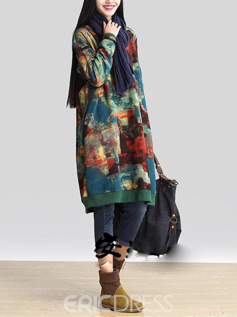Ericdress Pocket Print Mori Casual Dress