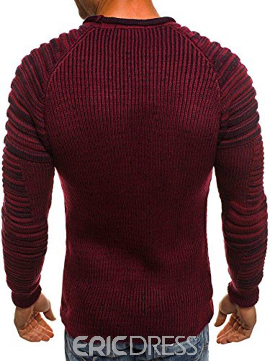 Ericdress Plain Round Neck Slim Men's Pullover Sweater