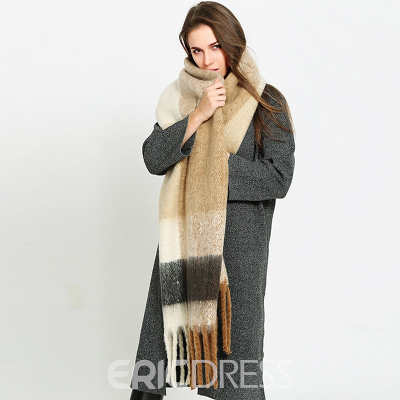 Ericdress New Style Grid Tassel Knitting Thicken Women's Scarf