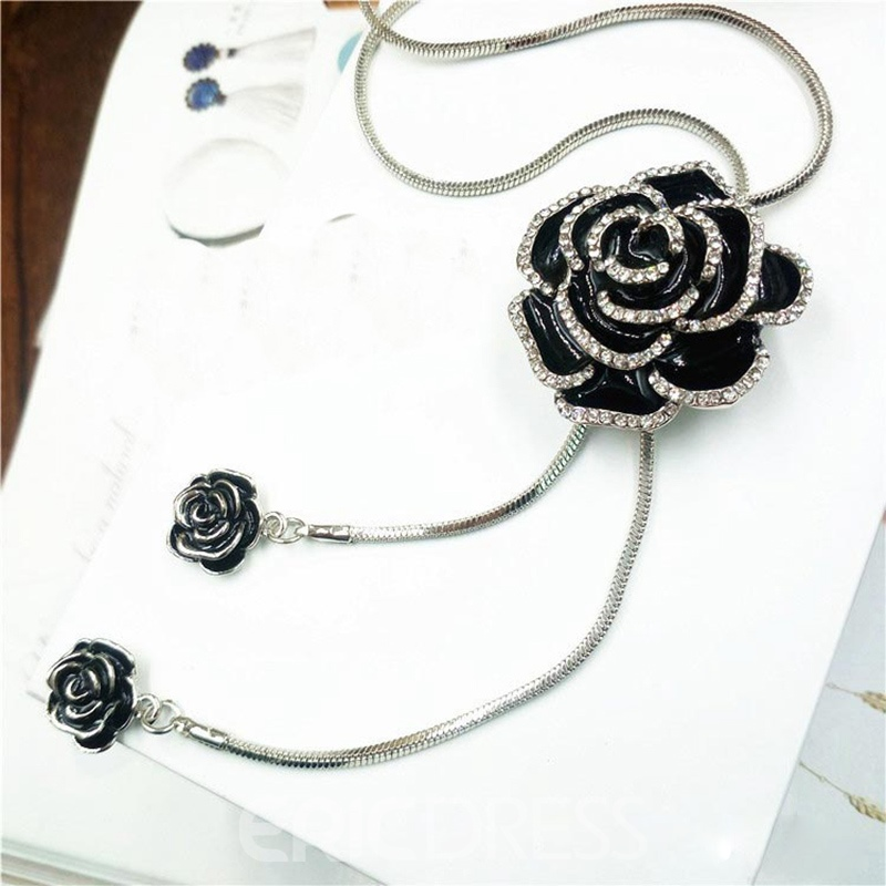 Ericdress OL Style Fully-Jewelled Rose Tassel Swearter Necklace
