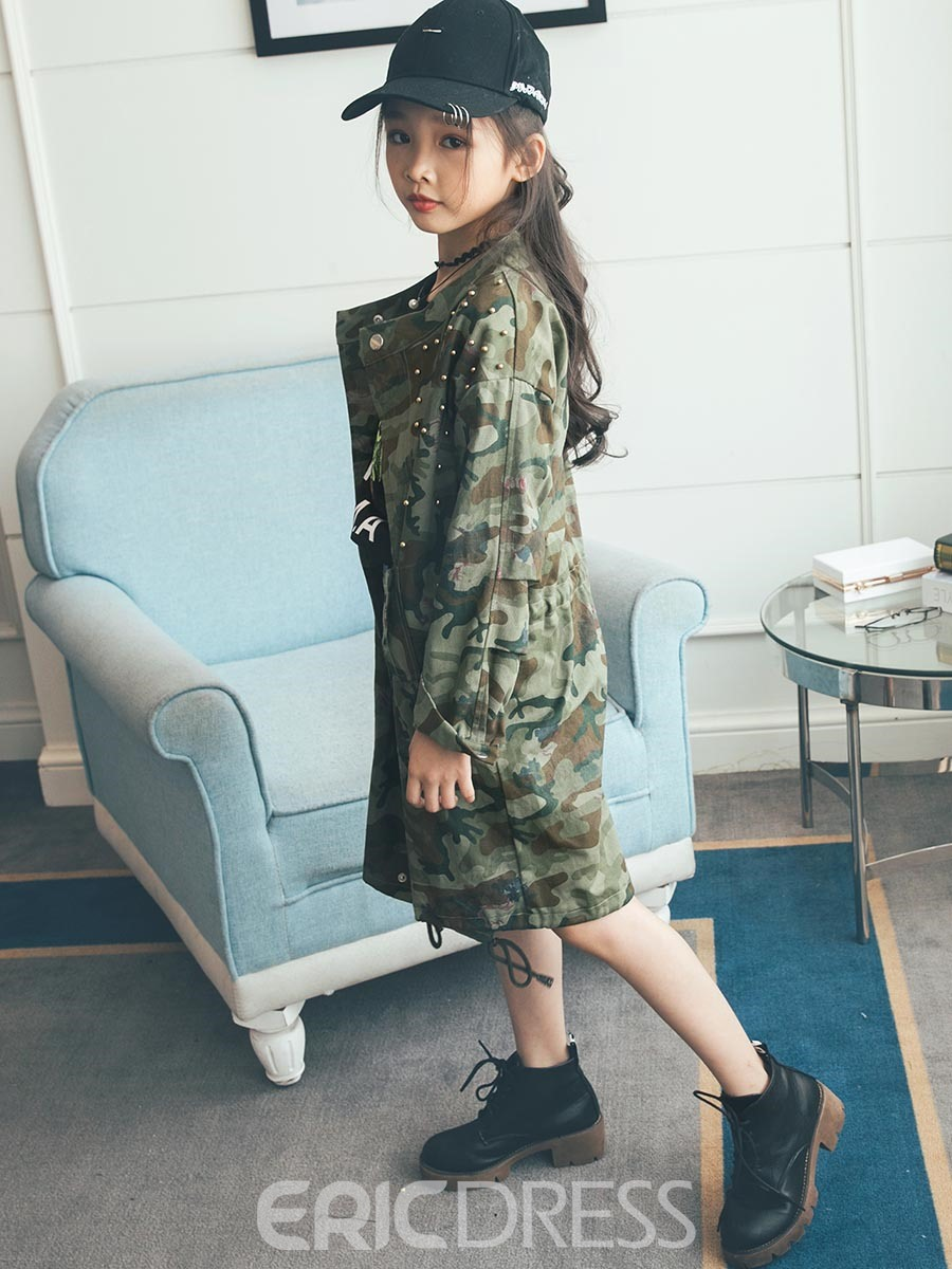 Ericdress Fashion Camouflage Print Bead Thin Girl's Overcoat