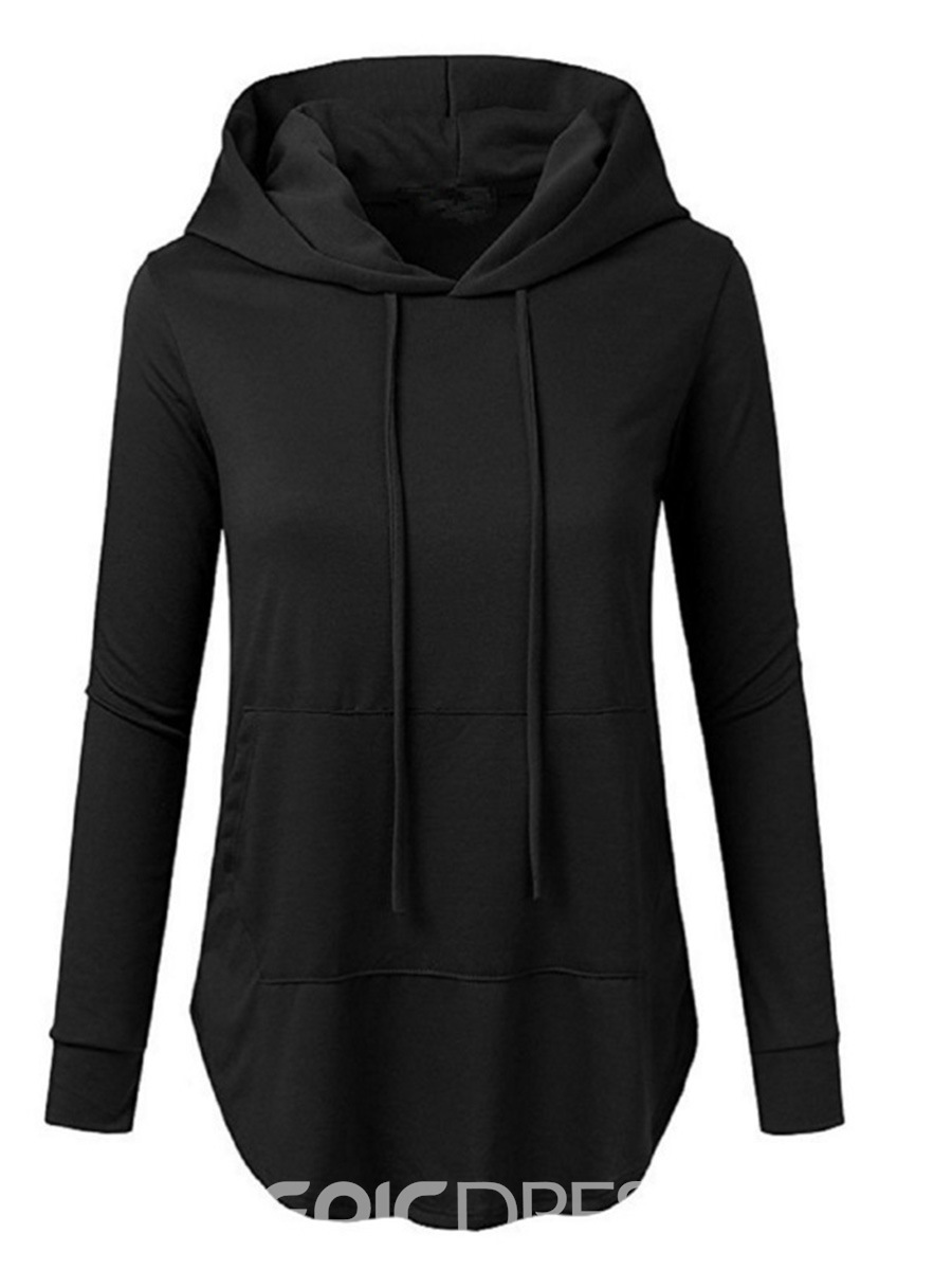 Ericdress Plain Mid-Length Cool Hoodie