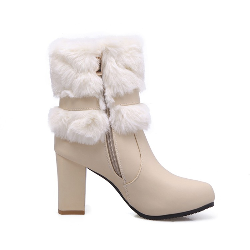 Ericdress Chic Fuzzy Buckle Platform Women's Chunky Heel Ankle Boots