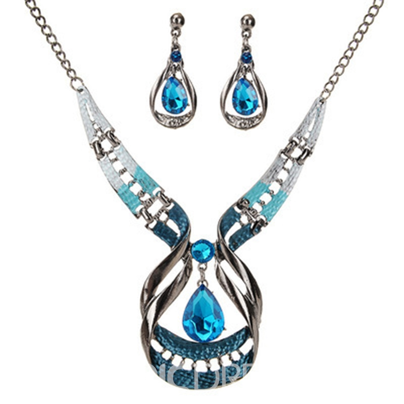 Ericdress Luxurious Sapphire Waterdrop Jewelry Set