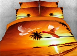 Vivilinen Flying Doves and Tropical Beach Printed 4-Piece 3D Bedding Sets/Duvet Covers