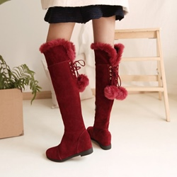 Ericdress Fuzzy Pompon Plain Womens Knee High Boots фото