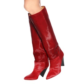 Ericdress Red Pointed Toe Plain Women's Knee High Boots