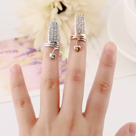 Ericdress Vreative Fully-Jewelled Women's Nail Ring