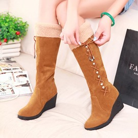Ericdress Diamond Cross Strap Wedge Heel Knee High Boots