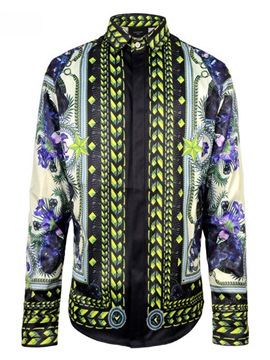 Ericdress Ethnic Style Print Lapel Slim Men's Cotton Shirt