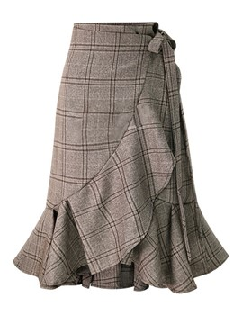 Ericdress Asymmetrical Knee-Length Plaid Women's Skirt