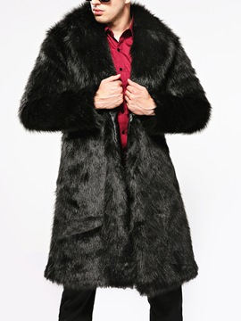 Ericdress Plain Lapel Thicken Warm Men's Faux Fur Coat