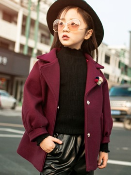 Ericdress Notched Lapel Lantern Sleeve Girl's Wool Blends Coat