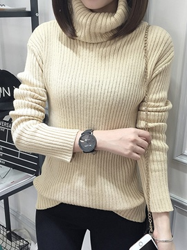 Ericdress Turtleneck Plain Slim Knitwear