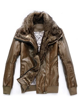 Ericdress Faux Fur Lapel Zip Men's PU Jacket