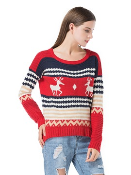 Ericdress Loose Stripe Christmas Sweater