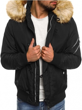 Ericdress Plain Thicken Warm Hooded Zipper Men's Winter Coat