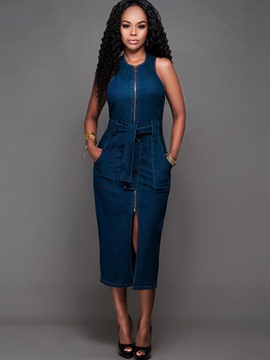 Ericdress Lace-Up Pocket Mid-Calf Denim Sheath Dress
