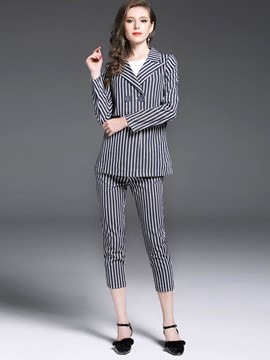Ericdress Stripe Blazer and Pants Ladies Suit