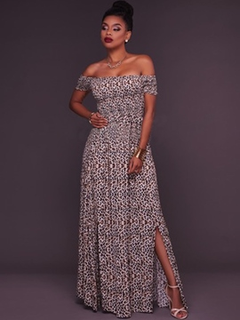 Ericdress Slash Neck Floor Length Print Maxi Dress